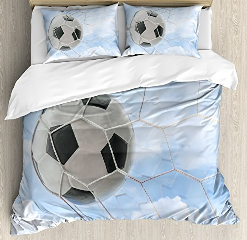 Sports Decor Queen Size Duvet Cover Set by Ambesonne, Soccer Ball in Goal with Cloudy Sky Summertime Outdoor Activities Sporting, Decorative 3 Piece Bedding Set with 2 Pillow Shams by Ambesonne