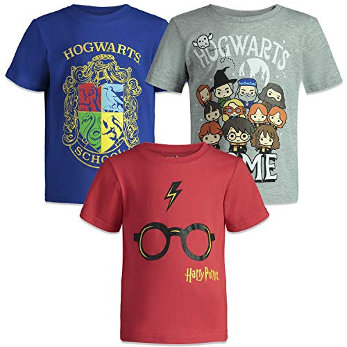 HARRY POTTER Hogwarts Toddler Boys Short Sleeve T-Shirts 3 Pack Blue Grey Red 5 (Harry Potter Shirt Stone Chamber)