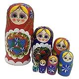 7PCS Hand Painted Wooden Strawberry Russian Nesting Dolls Matryoshka Gift #1