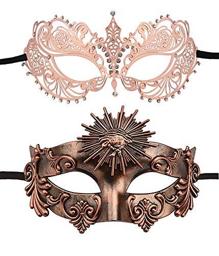 2 Pack Couple's Venetian Masks Set Masquerade