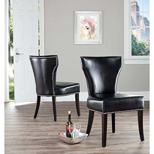 Bicast Leather Arm Dining Chairs - Safavieh Mercer Collection Carter Black Leather Dining Chair, Set of 2