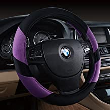 """Black and Purple Winter Warm Short Plush Car Steering Wheel Cover Size 15"""""""