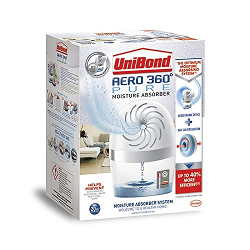 UniBond AERO 360º Moisture Absorber, ultra-absorbent dehumidifier, helps to prevent condensation, mould & musty smells, refillable condensation absorber, 1 Device incl. 1 refill tab 450g