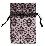 48 pcs Organza Black Damask Design on Clear Drawstring Pouches Gift Bags 4 x 5 inch