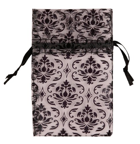 48 pcs Organza Black Damask Design on Clear Drawstring Pouches Gift Bags 2.75 x 3 inch - Damask Jewelry