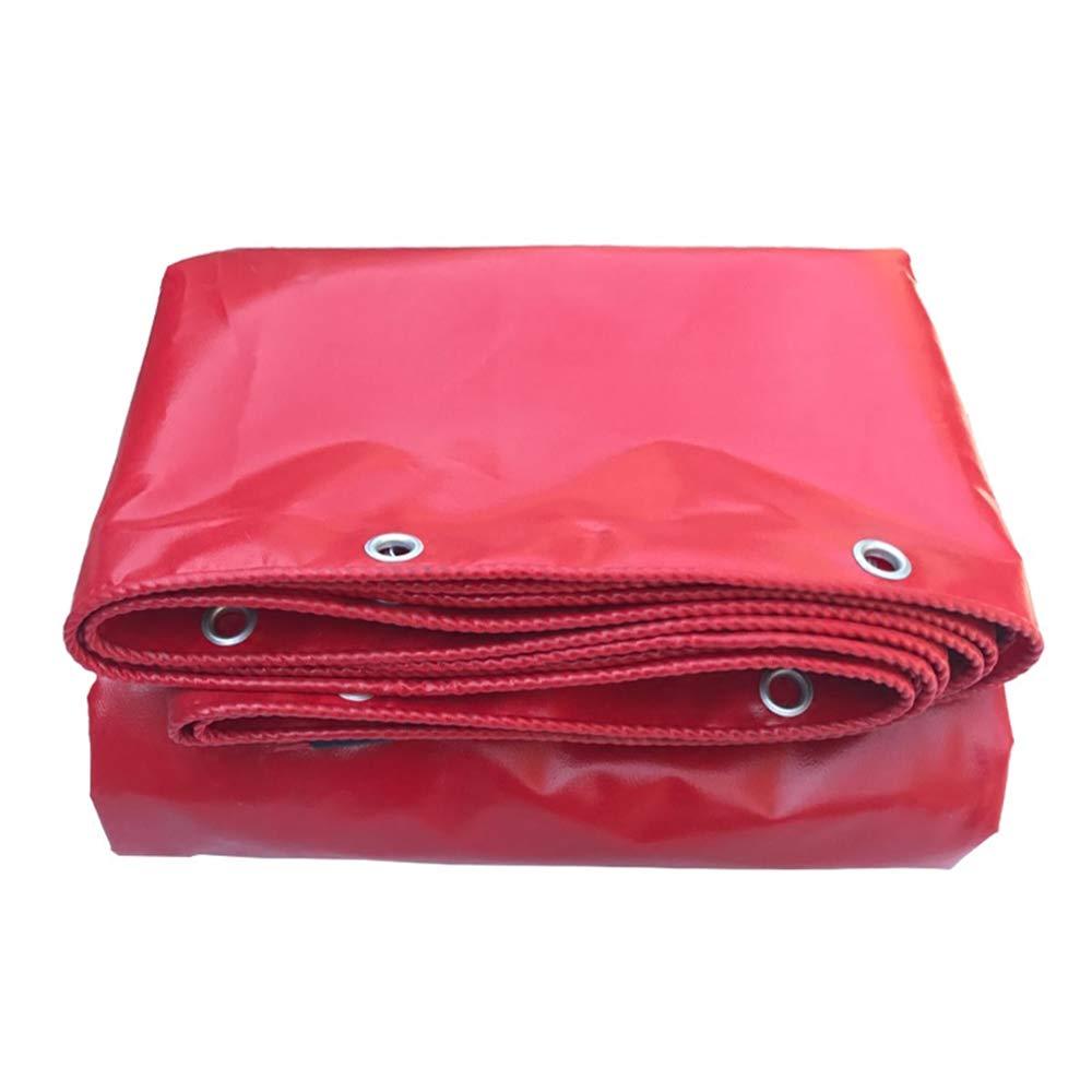 YNN - ターポリン ヘビーデューティ厚いPVCターポリン多目的防水タップカバー、リバーシブル530g /m²0.42mm (色 : Red, サイズ さいず : 6*8m) 6*8m Red B0101Q4DXW