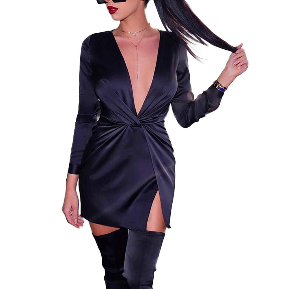 Womens Ruched Deep V Neck Long Sleeve Split Bodycon Mini Dress Club Shirt Tunic
