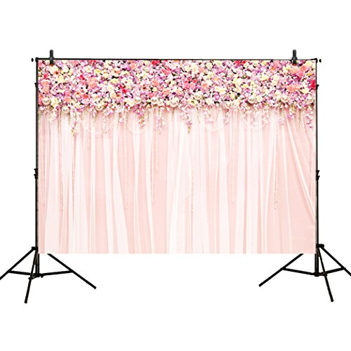 Funnytree 7x5ft photography backdrops wedding decoration party pink floral Flower wall curtains Birthday Bridal shower banner photo studio booth background photocall -