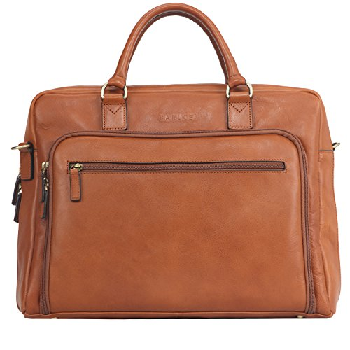 Italian Leather Zippered Travel Bag - Banuce Italian Leather Business Tote Briefcase Attache Laptop Case