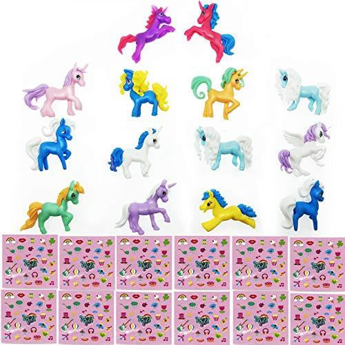 GIFTEXPRESS® 12 pcs Individual packed Magical Unicorn Pony Bundle Set: 12 Mini Rubber Unicorns Figure + 12 Sheets of Rainbow Unicorn Bookmarks Total of 360 Stickers ()