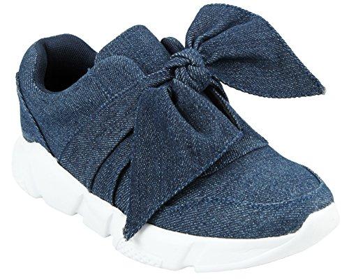 Les Femmes Slip-on À Bout Rond Noeud Lacets En Satin Léger Plate-forme De Mode Sneaker Blue Denim