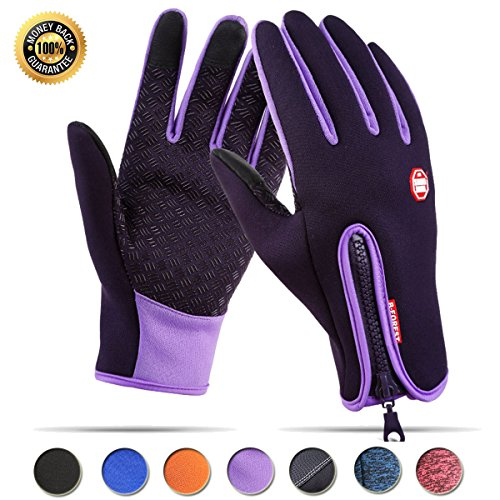 Women Gloves Touchscreen Waterproof Winter Cycling Gloves for Men Warm Bike Outdoor Driving Anti-slip Sports Gloves (Purple,M) (Slip Anti Gloves)