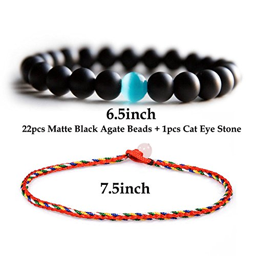 Cat Eye Cat Charm Bracelet - 7inch Black Matte Agate Onyx Beads Bracelets, Natural Stones Bead with Blue Semi-Precious Water Drop Stone Stretch Bracelet (H61)