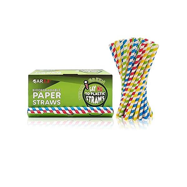 QAR7.3 Cannucce di Carta Biodegradabili - Colorate a strisce - Particolari idee Regalo - Pacco da 200 pezzi (8 mm * 22,5… 1