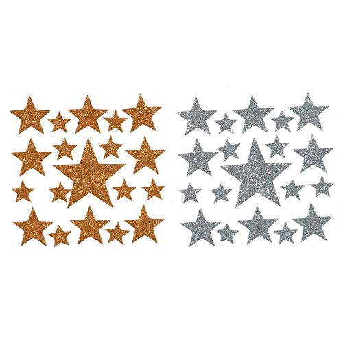 Bulk Buy: Darice Foamies Glitter Stickers Stars Gold and Silver 2 sheets (3-Pack) 106-1373