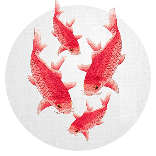 Fish Embroidered Patches Applique Sewn On Patches Embroidered Garment Scrapbooking Embossed Decorated Scrapbooking Decorated Fabric Flower Motifs, Craft, Sewing, Embroidery Patches(Four Red Fish, Red) (Flower Embroidery Stones)