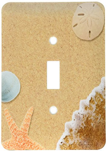 3dRose lsp_172139_1 Sandy Beach with Shells Light Switch Cover]()