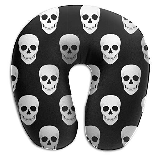 CHJOO Neck Pillow, Halloween Holiday Skull Travel Pillow for Travel, Home, Neck Pain, and Many More with The Comfort Support Pillows