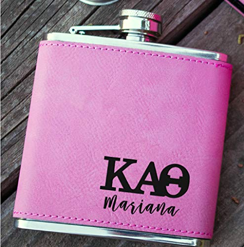 Custom Fraternity or Sorority Flask, engraved hip flask, Great as Graduation Gifts, Party Favors, Gift for College Students, best groomsmen gifts, Stainless Steel 6 oz (Pink Leather) ()