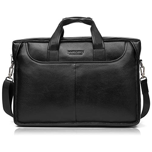 BOSTANTEN Leather Briefcase Laptop Case Handbag Business Bags for Men Black