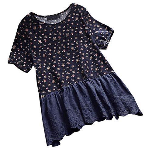 (Women's Linen Shirt, Cotton and Linen Women Floral Print Sexy Short Sleeve Top Shirt Pullover Tops Navy)