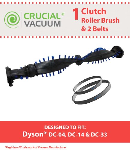 Crucial Vacuum Roller Brush and Drive Belt Set for Dyson DC04, DC07, DC14, DC33 Clutch Upright Vacuums, Compare To Dyson Roller Part 904174-01 and Belt Part DYR-1000, DYR1000, PPP135, 05361-01-02 and 02514-01-01 (Dyson Vacuum Dc14 Belt compare prices)