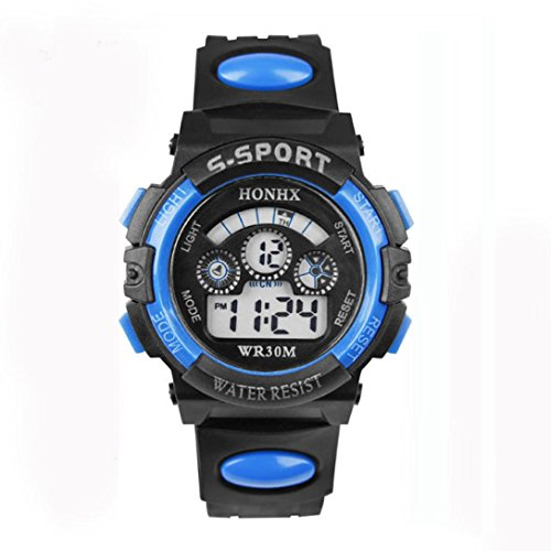 (Men/Boys Waterproof Digital LED Quartz Alarm Date Sports Watches Wrist Watch by Rakkiss (37mm, Blue))