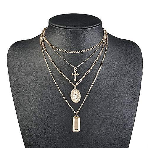 Mikash HOT Jesus Cross Necklace Multi Layer Chain Triple Charm Drop Pendant Choker Boho | Model NCKLCS - 37799 |