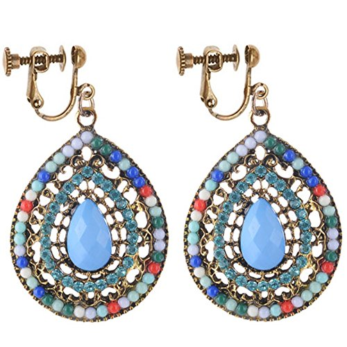 Clip On Vintage Multicolor Waterdrop Earrings Dangle Rhinestone Costume Gift
