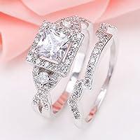 suwanpoom 925 Silver White Topaz Princess Cut Halo Wedding Engagement Ring Set Size 6-12 (11)