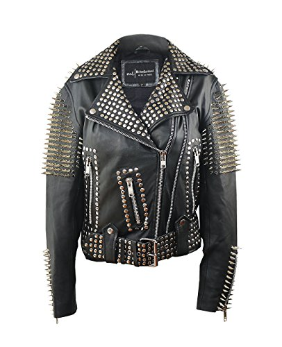 (Grace-Black Studded Spiked Sheepskin Moto Jacket Size M)