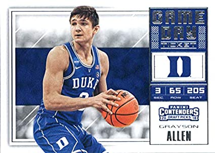 2018-19 Panini Contenders Draft Picks Game Day Tickets  29 Grayson Allen  Duke Blue 567856be1
