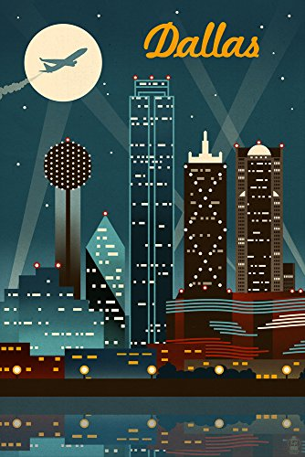 - Dallas, Texas - Retro Skyline (16x24 Giclee Gallery Print, Wall Decor Travel Poster)