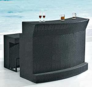 Amazon Com Outdoor Patio Bar Set 3 Piece 1 Glass Top Bar