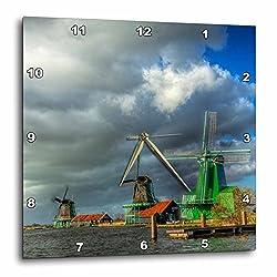 3dRose Danita Delimont - Windmills - Netherlands, Zaandam, Scenes from Zaanse Schans Museum. Zaandam - 15x15 Wall Clock (dpp_277762_3)