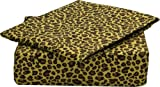 Clara Clark Signature 820 Collection 4 pc Bed Sheet Set, Queen Size, Cheetah Animal Print, Gold and Brown