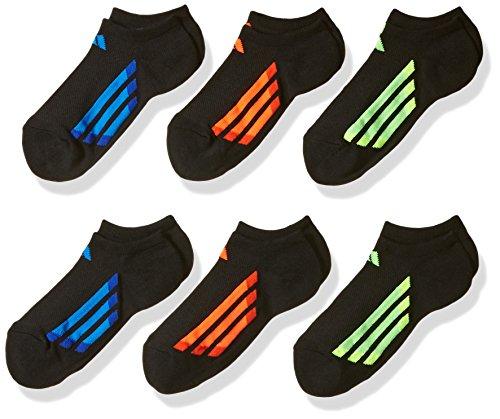 adidas Youth Kids-Boys/Girls Cushioned No Show Socks (6-Pair), Black/Solar Red/Bold Orange/Solar Green/Solar Yell, Medium, (Shoe Size 13C-4Y)