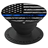 Thin Blue Line Pop Socket USA Flag Birthday Christmas Gift - PopSockets Grip and Stand for Phones and Tablets