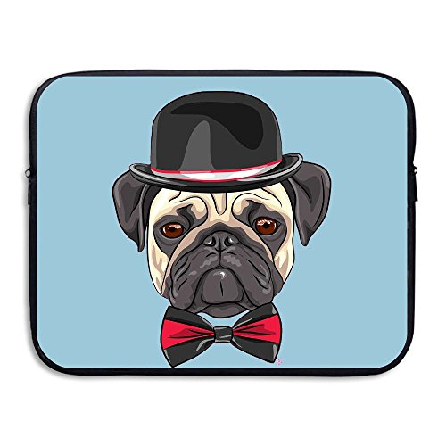 Pro Pad Derby Cover (Posh Pug Bowler Hat & Bowtie Pug Water Repellent Laptop Case Bags Printed Ultrabook Briefcase Sleeve Bags Cover For Macbook Pro/Notebook/Acer/Asus/Lenovo Dell 15 Inch)