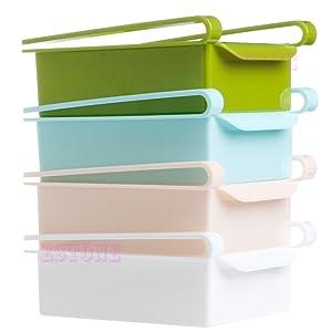 Amrka Slide Kitchen Fridge Freezer Space Saver Organizer Storage Box Drawer Holder (White)