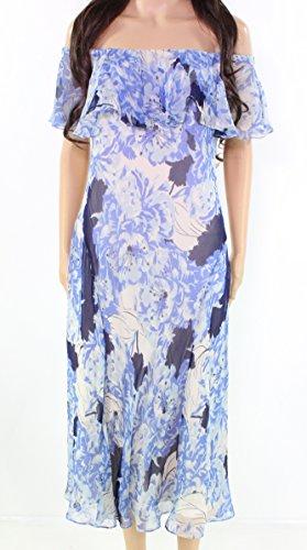 Polo Ralph Lauren Floral-Print Women's A-Line Dress Silk Blue (Ralph Lauren Silk Dress)