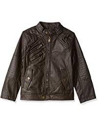 Urban Republic boys Faux Leather Jacket With Quilting Yokes