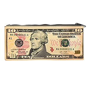 $10 Bank Note Zipper Pouch - Ten Dollar Bill Print