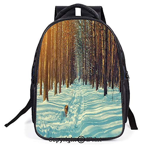 School Bag,Skier Figure Running Dog in the Forest Winter Season Snow and Dead Nature Landscape,Suitable for Kids,School Backpack,Travel Hiking Bag Backpack (Computer Rising Dead)