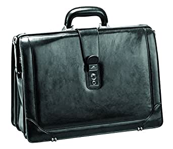 "Mancini Italian Leather 17"" Laptop Lawyer's Briefcase - Black"