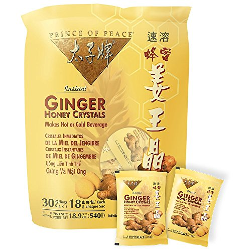 Prince of Peace Ginger Honey Crystals, 18gX30 Packets(540g) (Honey Lemon Water)