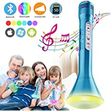 Wireless Bluetooth Karaoke Microphone for Kids, Portable Karaoke Player Machine with Speaker &Light for Home Party KTV Music Singing Playing, Support iPhone Android IOS Smartphone PC iPad (Silver)