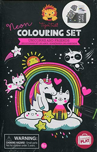 Tiger Tribe Neon Coloring Set - Unicorn & Friends