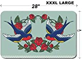 Liili Large Table Mat Non-Slip Natural Rubber Desk Pads Old school with roses and birds Photo 21447883