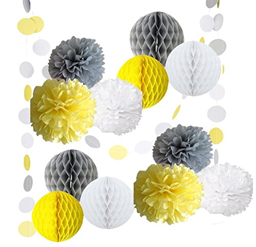 14PCS Yellow Gray White Decorative Party Paper Pack Pompoms Flower Honeycomb Ball Circle Paper Garland Baby Shower Wedding Birthday Decoratio (Baby Shower Decoratios)